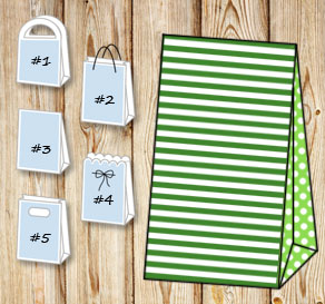 Dark green and white striped gift bag with light gr...  | Free printable gift bag