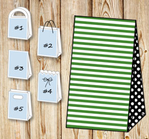 Dark green and white striped gift bag with black do...  | Free printable gift bag