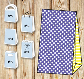 Purple gift bag with white dots and yellow striped ...  | Free printable gift bag