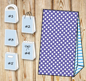 Purple gift bag with white dots and light blue stri...  | Free printable gift bag
