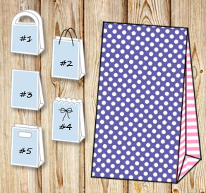 Purple gift bag with white dots and light pink stri...  | Free printable gift bag