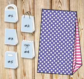 Purple gift bag with white dots and pink striped sides  | Free printable gift bag