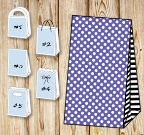 Purple gift bag with white dots and black striped s...  | Free printable gift bag