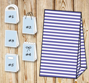 Purple and white striped gift bag  | Free printable gift bag
