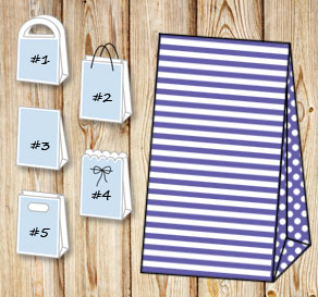 Purple and white striped gift bag with dotted sides  | Free printable gift bag