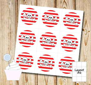 Red and white striped cupcake toppers with skulls  | Free printable cupcake wrappers and toppers