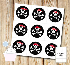 Black cupcake toppers with skulls 2  | Free printable cupcake wrappers and toppers