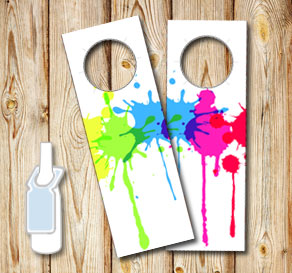 Neck tags with colorful splashes of paint  | Free printable neck tag