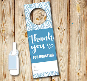 Neck tags: Thank you for hoasting (blue pattern)  | Free printable neck tag
