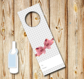 Neck tags with grey dots and a pink bow (to/fom)  | Free printable neck tag