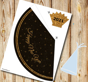 Party hat Happy New Year 2021  | Free printable for New Years Eve