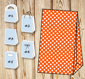 Orange gift bag with white dots  | Free printable gift bag