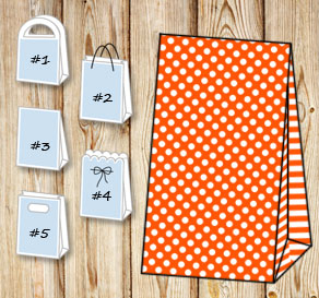 Orange gift bag with white dots and striped sides  | Free printable gift bag