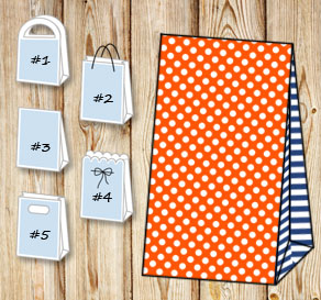 Orange gift bag with white dots and dark blue strip...  | Free printable gift bag