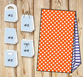 Orange gift bag with white dots and purple striped ...  | Free printable gift bag