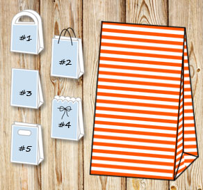 Orange and white striped gift bag  | Free printable gift bag
