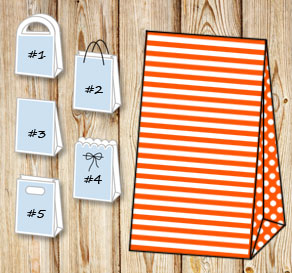 Orange and white striped gift bag with dotted sides  | Free printable gift bag