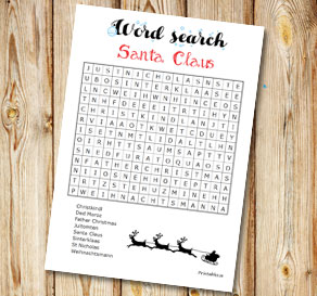 Word search: Santa Claus  | Free printable for Christmas