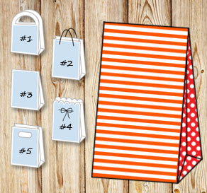 Orange and white striped gift bag with red dotted s...  | Free printable gift bag