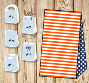 Orange and white striped gift bag with dark blue do...  | Free printable gift bag