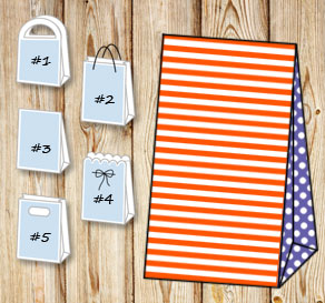 Orange and white striped gift bag with purple dotte...  | Free printable gift bag