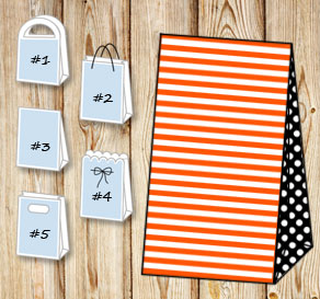 Orange and white striped gift bag with black dotted...  | Free printable gift bag