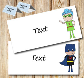 Placement card with super heroes  | Free printable placement cards