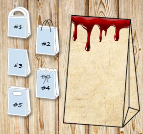 Gift bag in old agvintage paper with dripping blood  | Free printable for Halloween