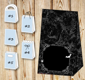 Black marble gift bag for Halloween  | Free printable for Halloween