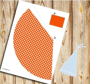 Orange party hat with white dots  | Free printable party hat