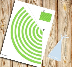 Green and white striped party hat  | Free printable party hat