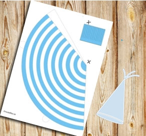 Light blue and white striped party hat  | Free printable party hat