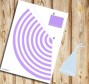 Light purple and white striped party hat  | Free printable party hat