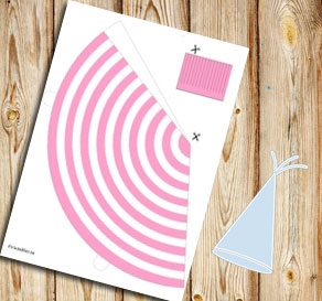 Light pink and white striped party hat  | Free printable party hat