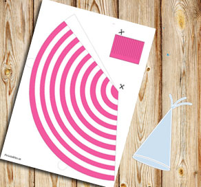 Pink and white striped party hat  | Free printable party hat