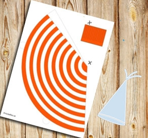Orange and white striped party hat  | Free printable party hat