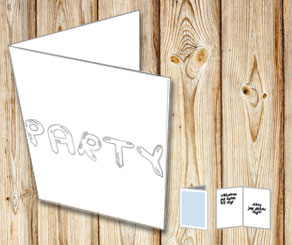 Balloon text: Party (black and white)	  | Free printable card