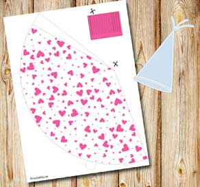 White party hat with pink hearts  | Free printable for Valentines day