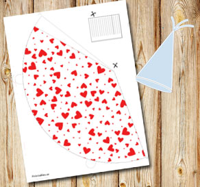 White party hat with red hearts  | Free printable for Valentines day