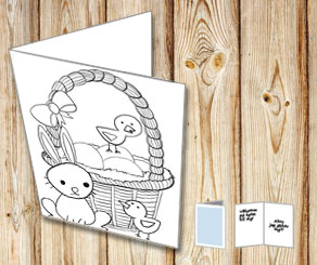 Easter card: Eatser basket to color yourself  | Free printable for Easter