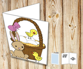 Easter card: Easter eggs in basket  | Free printable for Easter