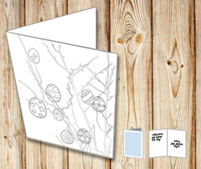 Easter card: Easter eggs to color yourself  | Free printable for Easter