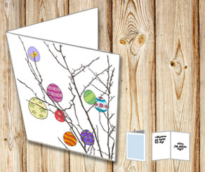 Easter card: Colorful easter eggs  | Free printable for Easter