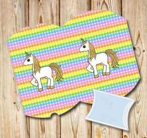Dotted pillow boxes in light rainbow colors with a ...  | Free printable gift box
