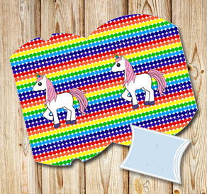 Dotted pillow boxes in rainbow colors with a unicorn 2  | Free printable gift box