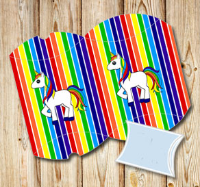 Striped pillow boxes in rainbow colors with a unicorn  | Free printable gift box