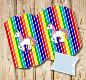 Striped pillow boxes in rainbow colors with a unico...  | Free printable gift box