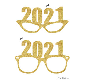 Photo booth props: Golden New Years Eve glasses for...  | Free printable for New Years Eve