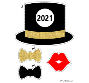 Photo booth props: New Years Eve 2021  | Free printable for New Years Eve