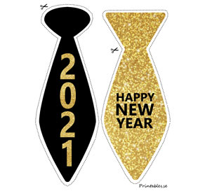 Photo booth props: New Years Eve ties för 2021  | Free printable for New Years Eve
